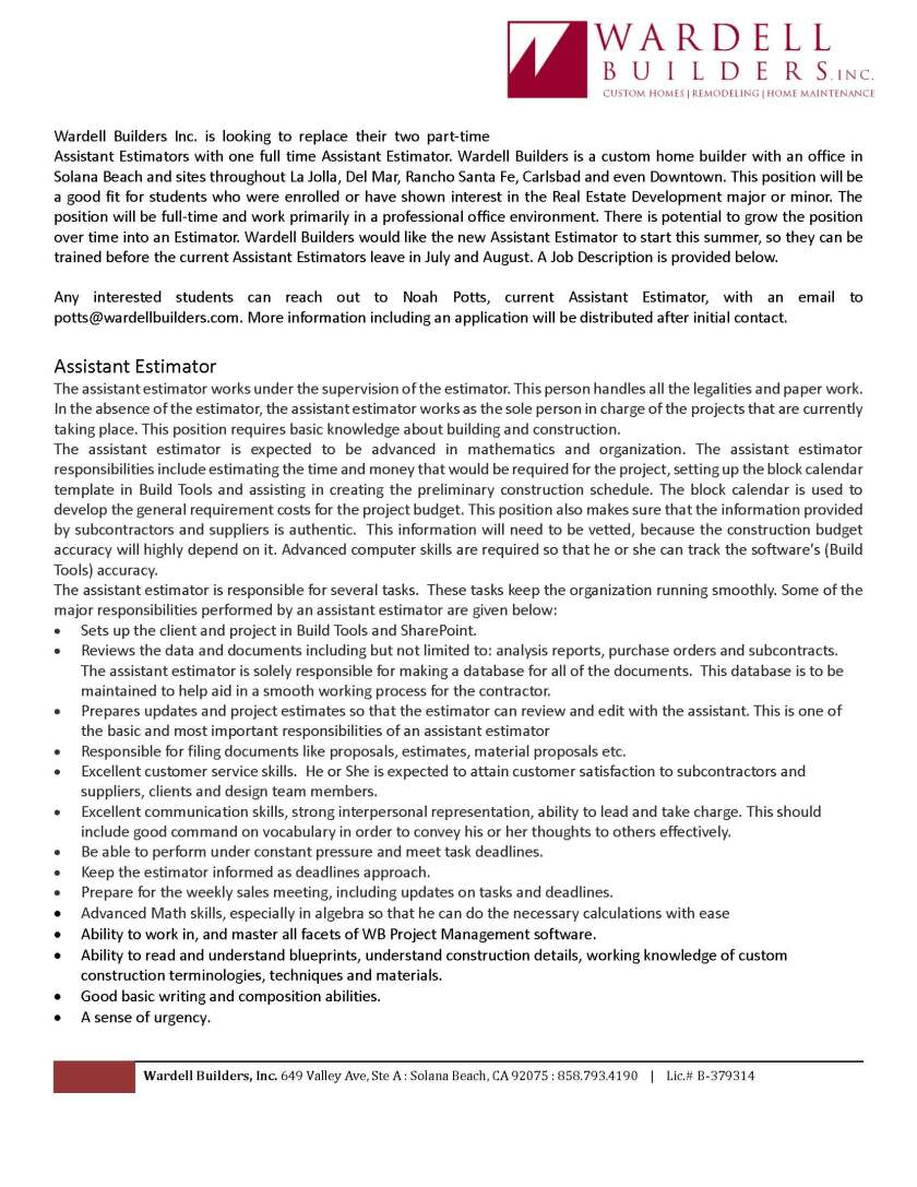 Assistant Estimator Job Description