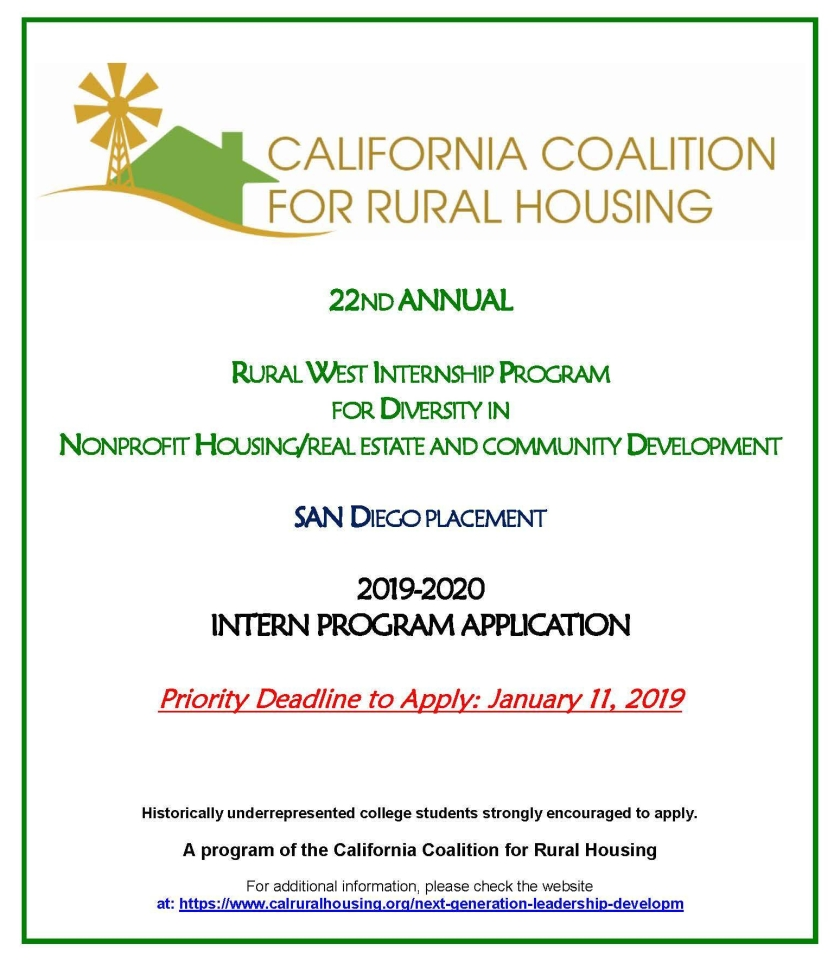22nd Annual CCRH Internship Student Application_SD